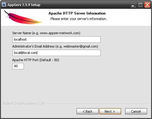 نصب نرم افزار AppServ
